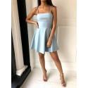 A-Line Spaghetti Straps Open Back Light Blue Short Homecoming Dress