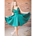 A-Line Spaghetti Straps Simple Short Dark Green Homecoming Dress