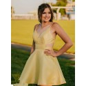 A-Line Spaghetti Straps Lace-Up Short Yellow Homecoming Dress