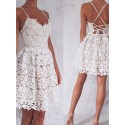 A-Line Spaghetti Straps Lace-Up White Lace Short Homecoming Dress