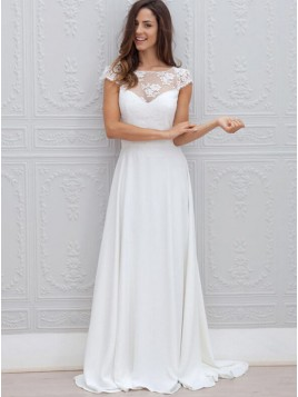 A-Line Bateau Cap Sleeves Open Back Chiffon Wedding Dress with Lace