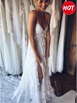 A-Line Spaghetti Straps Backless Court Train Lace Beach Wedding Dress