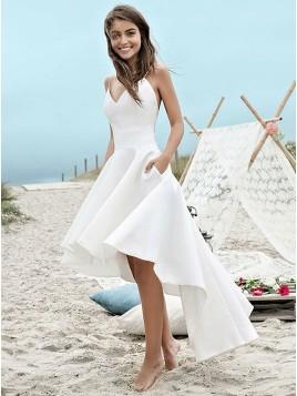 High Low Spaghetti Straps Backless Satin Beach Wedding Dress with Pockets