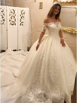 Ball Gown Off-the-Shoulder Long Sleeves Court Train White Wedding Dress with Appliques