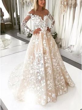 A-Line Illusion Bateau Long Sleeves Backless Ivory Lace Wedding Dress