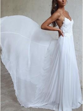 A-line Spaghetti Straps White Long Chiffon Beach Wedding Dress