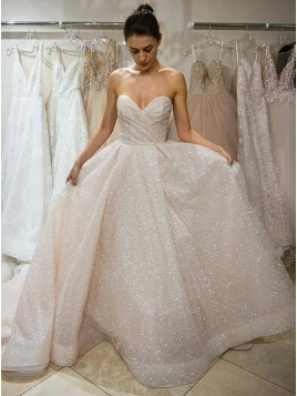A-Line Sweetheart Court Train Light Champagne Sequined Wedding Dress