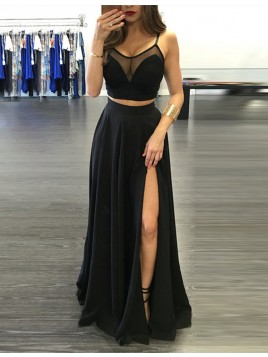 Spaghetti Straps Slit Leg Black Prom Dress with Pleats Two Piece Party Dress