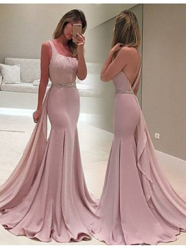 Mermaid One Shoulder Detachable Train Beaded Blush Prom Dress