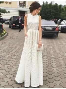 A-line Ivory Jewel Sleeveless Floor-length Prom Dress with Sash Lace