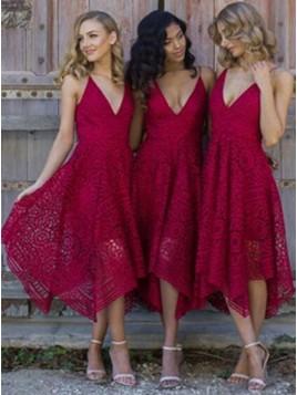 A-Line Spaghetti Straps Asymmetrical Burgundy Lace Bridesmaid/Prom Dress