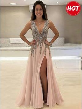 A-Line Deep V-Neck Pink Slit Legs Beaded Gorgeous Prom Dress