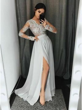 A-Line V-Neck Long Sleeves Light Gray Prom Dress with Appliques