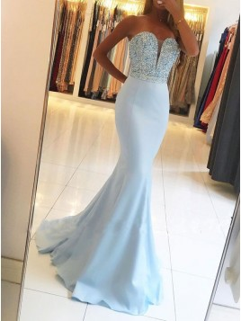 Mermaid Sweetheart Evening Dress Backless Long Light Blue Prom Dress with Beading