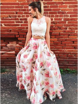 Two Piece Round Print Pink Chiffon Gorgeous Prom Dress With Lace