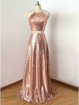 Two Piece Round Neck Open Back Rose Gold Sequined Prom Dress