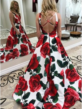 A-Line Deep V-Neck Criss-Cross Straps Floral Satin Prom Dress