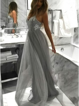A-Line V-neck Floor-Length Light Grey Prom Dress with Sequins