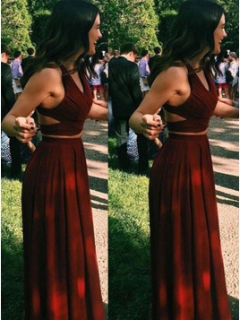 V-Neck Burgundy Party Dress Criss-Cross Straps Chiffon Two Piece Prom Dress