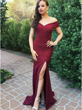 Mermaid Off-the-Shoulder Slit Legs Burgundy Prom Dress with Train