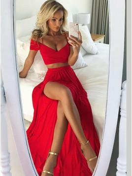Spaghetti Straps Long Two Piece Prom Dress with Split Red Party Dress