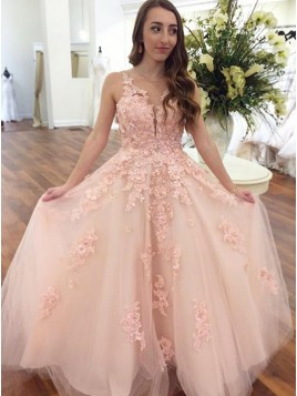 A-Line V-Neck Floor-Length Pink Prom Dress with Appliques