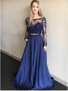 Two Piece Bateau Long Sleeves Dark Blue Prom Dress with Beading Pockets