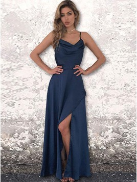 A-Line Spaghetti Straps Backless Floor-Length Dark Blue Prom Dress with Split