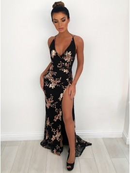 Mermaid V-Neck Backless Floor-Length Black Prom Dress with Appliques Split
