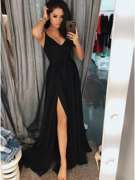 Simple A-Line Spaghetti Straps Long Black Prom Dress with Split