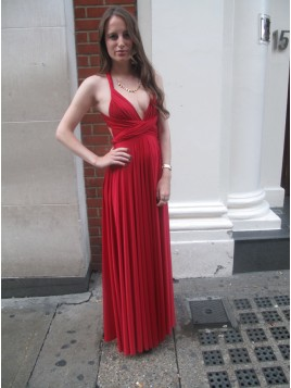 A-Line Deep V-Neck Floor-Length Red Convertible Prom Dress with Pleats