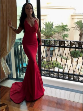 Mermaid Spaghetti Straps Sweep Train Red Prom Dress with Appliques Beading