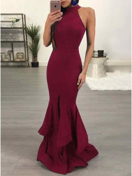 Mermaid Jewel Floor-Length Burgundy Prom Dress with Ruffles