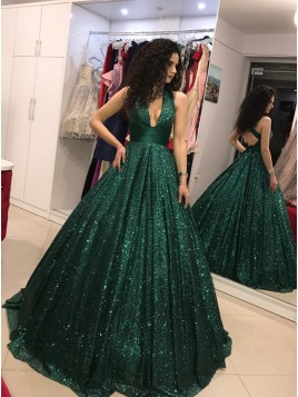A-Line V-Neck Backless Floor-Length Dark Green Sequined Prom Dress