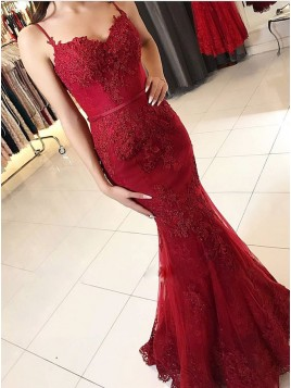 Mermaid Spaghetti Straps Backless Floor-Length Red Prom Dress with Appliques