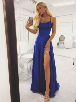 A-Line Slit Leg Criss-Cross Straps Long Royal Blue Satin Prom Dress