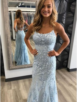 Mermaid Spaghetti Straps Backless Long Blue Prom Dress with Appliques