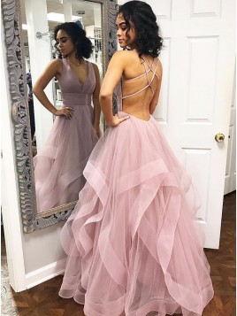 A-Line V-Neck Criss-Cross Back Floor-Length Pink Tiered Prom Dress
