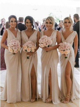 Sheath V-Neck Long Light Champagne Bridesmaid Dress with Split Ruched