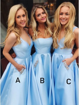 A-Line V-Neck Satin Sleeveless Long Blue Prom Dress with Beading