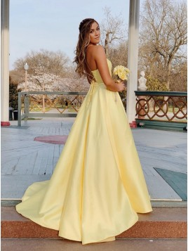 A-Line Satin Spaghetti Straps Long Daffodil Prom Dress with Beading Pockets