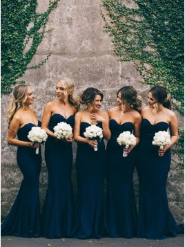 Mermaid Sweetheart Sleeveless Sweep Train Dark Navy Bridesmaid Dress