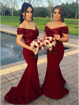 Mermaid Off-the-Shoulder Dark Red Elegant Bridesmaid Dress with Sequins