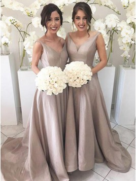 A-Line V-Neck Sleeveless High Low Sweep Train Silver Bridesmaid Dress
