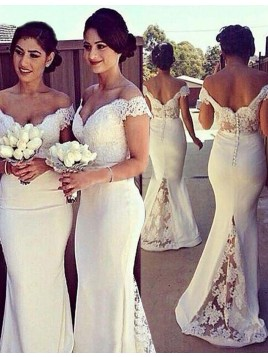 Mermaid Off the Shoulder Short Sleeves White Bridesmaid Dress with Lace