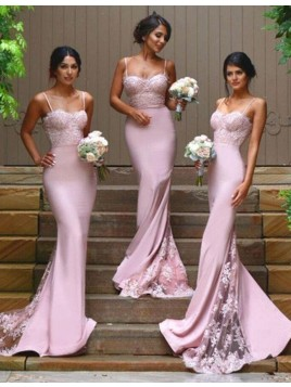 Mermaid Spaghetti Straps Sweep Train Pink Bridesmaid Dress with Lace