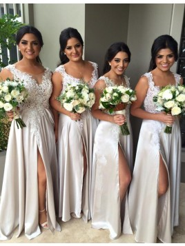 A-line Scoop Floor Length Ivory Bridesmaid Dress with Lace Split