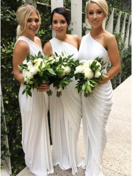 Sheath One Shoulder White Chiffon Bridesmaid Dress with Ruched