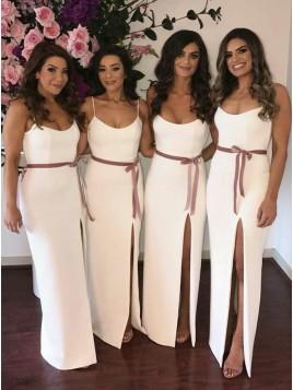 Sheath Spaghetti Straps Floor-Length Split Bridesmaid Dress with Sashes