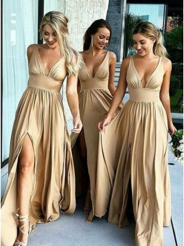 Mismatched A-Line V-Neck Long Champagne Bridesmaid Dress with Pleats